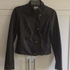 Hydraulic Faux Leather Moto Jacket